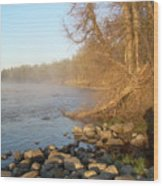 Mississippi River Shades Of Fog Wood Print