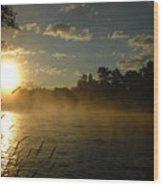 Mississippi River Sunrise Fog Wood Print