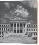 Mississippi State Capitol Bw Wood Print