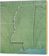 Mississippi State Usa 3d Render Topographic Map Border Wood Print