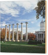 Missouri Columns And Jesse Hall Wood Print by University of Missouri