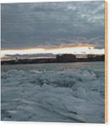 Missouri River Ice Sheet Sunset Wood Print