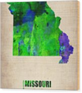 Missouri Watercolor Map Wood Print