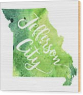 Missouri Watercolor Map - Jefferson City Hand Lettering  Wood Print