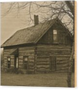 Missuakee County Log Cabin Wood Print