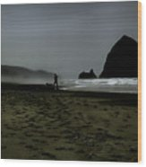 Mist At Cannon Beach Wood Print
