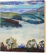 Mist In The Exe Valley In Exeter Devon Wood Print
