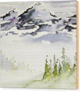 Mist In The Mountains Wood Print