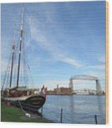 Mist Of Avalon Lift Bridge Wood Print