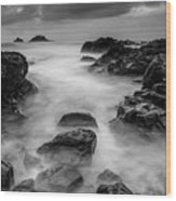 Mist On The Water In Monochrome Wood Print
