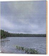Mist Over Nicks Lake Wood Print