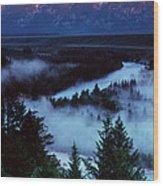 Mist Over Snake River, Sunrise Light Wood Print