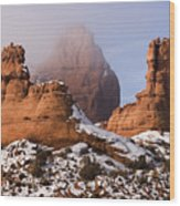 Mist Rising In Arches National Park Wood Print