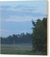 Mist Rolls In And Blue Sky At Sunset Wood Print