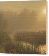 Mist Sunrise Wood Print