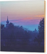 Misty And Vibrant Winter Dawn Over Serbian Countryside Wood Print