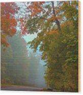 Misty Autumn Road Wood Print