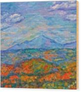 Misty Blue Ridge Autumn Wood Print