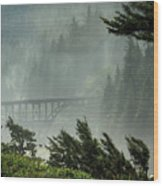 Misty Bridge At Heceta Head Wood Print