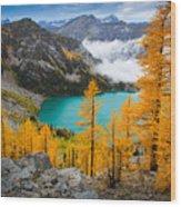Misty Colchuck Lake Wood Print