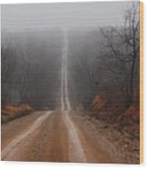 Misty Country Road Wood Print