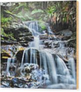 Misty Falls Wood Print