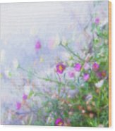 Misty Floral Spray Wood Print