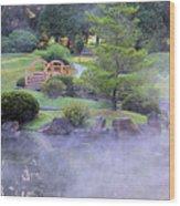 Misty Garden Wood Print
