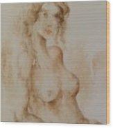 Misty Girl Wood Print