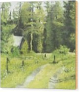 Misty Greens Wood Print