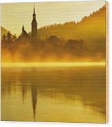 Misty Lake Bled At Sunrise Wood Print