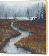 Misty Maine Wood Print