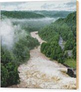 Misty Morning At Summersville Lake Dam Wood Print