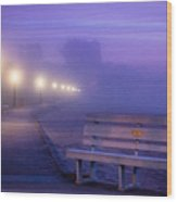 Misty Morning Boardwalk Wood Print