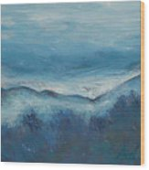Misty Morning Fog Mount Mansfield Panorama Painting Wood Print
