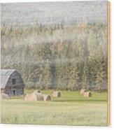 Misty Morning Haybales Wood Print