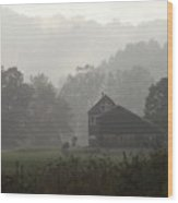 Misty Morning In Vermont Wood Print