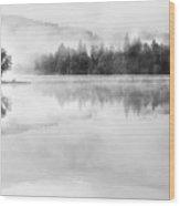 Misty Morning At Loch Ard Wood Print