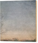 Misty Morning Moon Wood Print