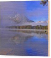 Misty Morning On A Canoe Wood Print