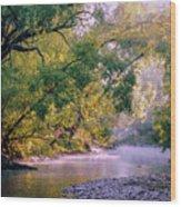Misty Morning On Nariel Creek Wood Print
