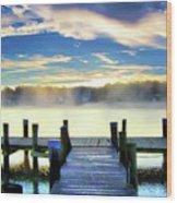 Misty Morning On Rock Creek Wood Print