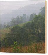 Misty Morning On The Farm Wood Print