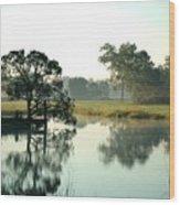 Misty Morning Pond Wood Print