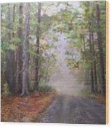 Misty Morning Road Wood Print