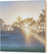 Misty Morning Sunrise - Valley Forge Wood Print