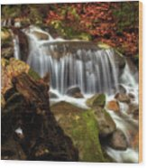 Misty Morning Waterfall Wood Print