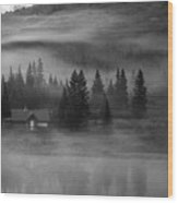 Misty Mountain Reflection Wood Print