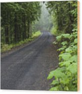Misty Mountain Road Wood Print