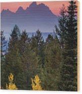 Misty Mountain Sunset Wood Print